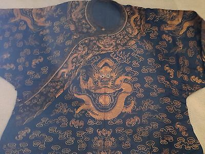 Antique 19 c Chinese Imperial 9 Dragon Blue Robe