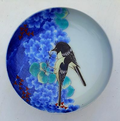 Nabeshima 鍋島 Footed Dish 2 Enamel Black Birds w Cobalt +Green Florals Japanese