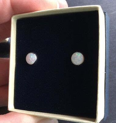 Beautiful Created White Fire Opal 6mm Silver 925 Earrings Gift Boxed