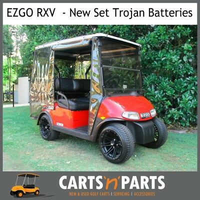 "EZGO RXV PREO 4 Seat Red Golf Cart Buggy - Custom 14"" Mags - Custom Seats - Like"