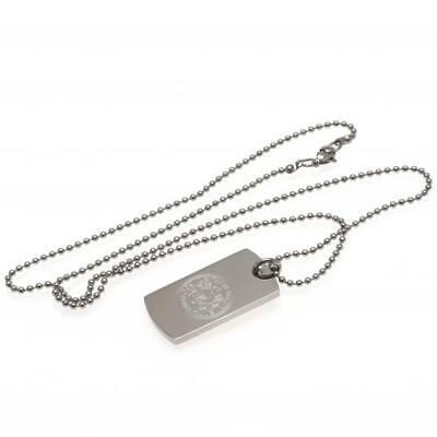 Official Football Leicester City F.C. Engraved Crest Dog Tag & Chain Xmas Gift