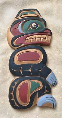 NW American Indian Hand-crafted Yellow Cedar Plaque - Tribal Motif of Bear