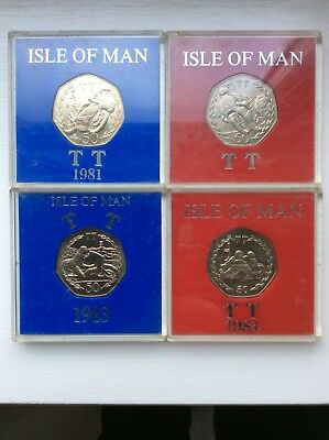 Collection of 4 IOM Isle of Man 50p TT Races 81-84 Joey Dunlop  Unc Large Size