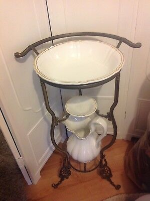 Vintage Wash Stand With Matching Jug And Bowl Shabby Chic