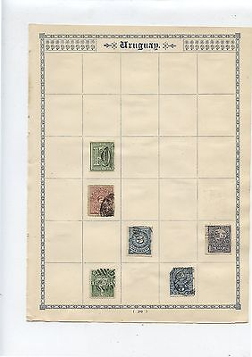 2 Antique Stamp Album Pages Uruguay 16 Early Used Stamps