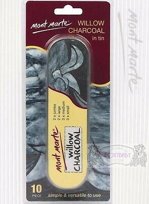 FREE SHIP 10 Mont Marte Willow Charcoal Pencil 2 jumbo 2 large 3 medium,3 small