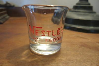 Old Nestle's Hot Fudge small glass syrup server, ice cream, dessert, advertising