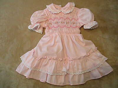 Vintage Polly Flinders Hand Smocked Dress Sz. 3T, Girl's Pink Party Ruffles EUC