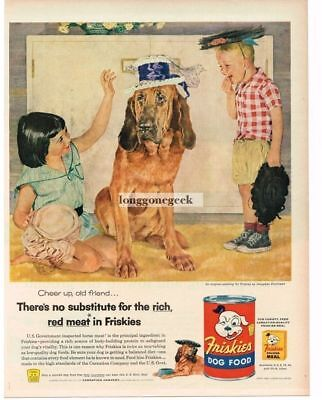 1956 Friskies Dog Food Kids Dressing Up Dog art Douglass Crockwell Vtg Ad