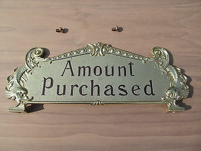 National Brass Cash Register Yellow Brass 313 Reproduction Top Sign