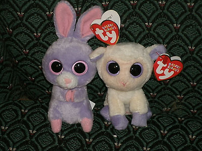 Ty BOO (SMALL LAMB & BUNNY) LILY & PETUNIA (EASTER BASKET BEANIES)-MWMT- VHTF