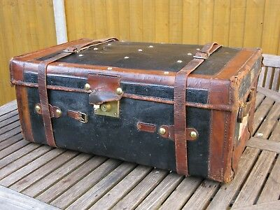 Antique Victorian Vintage Leather Trimmed Brass Studded Travelling Steamer Trunk