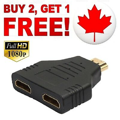 HDMI Splitter 1 In 2 Out Cable Adapter Multi Display Duplicator Full HD 1080P