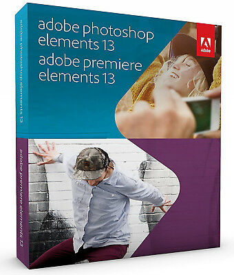Adobe Photoshop & Premiere Elements 13 Windows or Mac Free Shipping!