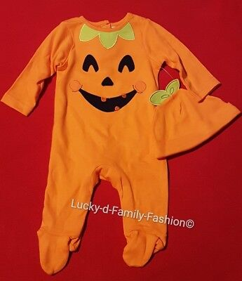 NEW M&Co Pumpkin Sleepsuit with hat Age 0-3 Months Halloween All In One Babygrow