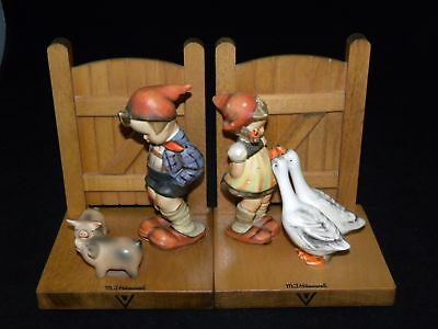 Goebel Hummel Bookends Boy W/ Pigs Girl With Geese