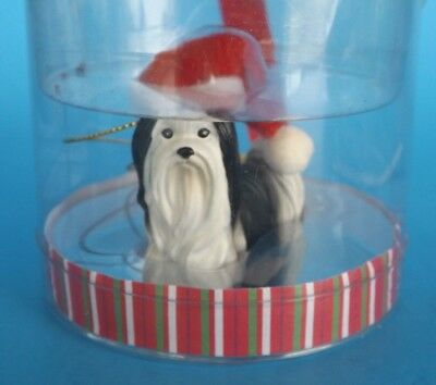 GANZ Black & White Shih Tzu Dog Wearing Santa Hat Resin Christmas Ornament NIP