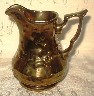 Wade Pitcher English Pottery Copper Lustre finish with an embossed Stag and Deer