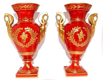 Pair Of Beautiful Antique French Napoleon Vases Heavy Gold