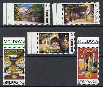 Moldova: 50th Anniversary of Cricova Winery, umm set of 5 stamps, 2002