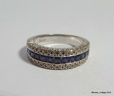 14K White Gold Ring with Diamonds & Blue Sapphires Signed DAVID BRIAN - size 7.5