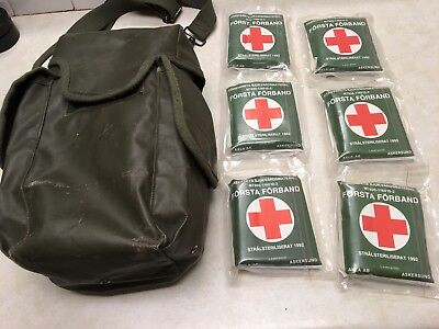 Swedish Military Style First Aid Pouch W/6 Dressing Packs
