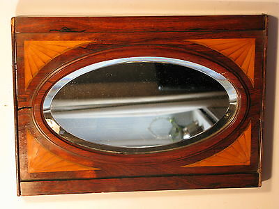 Antique English Edwardian Vintage Mahogany Satinwood Wall Bevel Mirror C1910