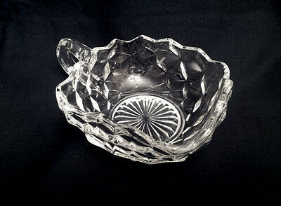 Fostoria American Crystal Clear Square Handled Nappy Dish Cube Glass #2056