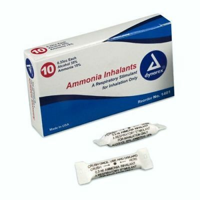 Dynarex Ammonia Inhalants 33 Cc 10 Ampules Smelling Salts
