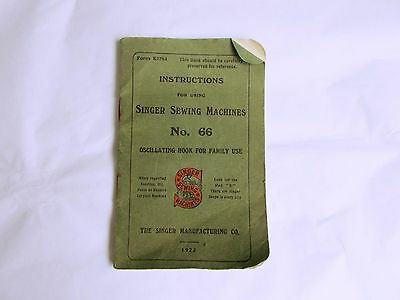 Singer Sewing Machine 66 Manual / Instructions 1922 Round Bobbin / Treadle
