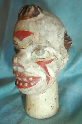 rare  CLOWN c19th  Punch &Judy  wooden carved  MARIONETTEN /PUPPET  HEAD