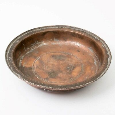 "Antique Early 19th Century Armenian Copper Bowl 9"" Middle Eastern Turkish Dish"