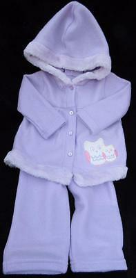Reborn baby doll 3-6 mo lilac purple hooded Owl jacket & matching pants outfit