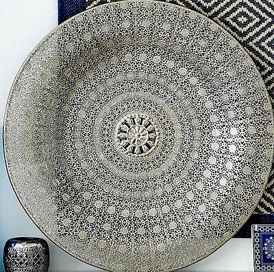 LARGE Antique Silver Colour Metal Filigree Moroccan Plate Wall Art Hanging NEW
