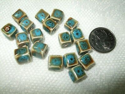 Blue & Brown Multi-Tone Handmade BEADS 11mm CUBE PORCELAIN Big Holes