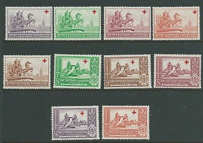 Great Britain 1940 Stamp Centenary Exhibition 10 Values Mnh Fresh