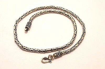 """925 Sterling Silver 4 mm Bali Chain / Byzantine Necklace. 38 grams, 45 cm,17.5"""""""