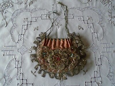 Georgian Early Victorian Pink Silk Wire Filigree and Beaded Floral Evening Purse