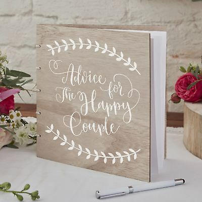 Boho Wooden Wedding Advice Book
