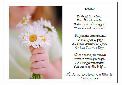 Personalised Fathers Day Poem Gift To Daddy From Your Little Girl