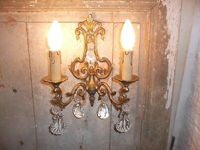 French ornate bronze single wall light sconce detailed crystal vintage