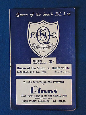 Queen of the South v Dunfermline - 25/10/58 - Programme
