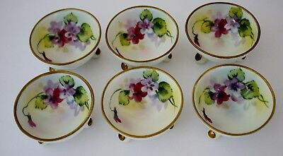 6 Vintage Nippon Open Salt Cellars Floral Porcelain Hand Painted