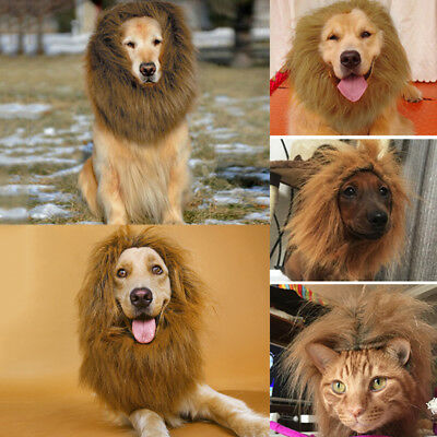 Large Pet Dog Cat Costume Lion Mane Wig Hair Halloween Clothes Fancy Dress Up UK