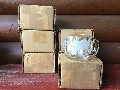 Lot 6 Vintage 1970s NOS Nestle Nescafe Clear Glass World Globe Coffee Cups