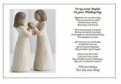 Personalised Wedding Day Poem Gift - TO MY SISTER on your Marriage/Wedding