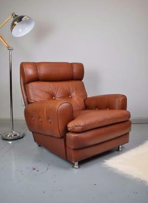 Mid Century Retro Danish Skippers Mobler Cognac Brown Leather Lounge Arm Chair