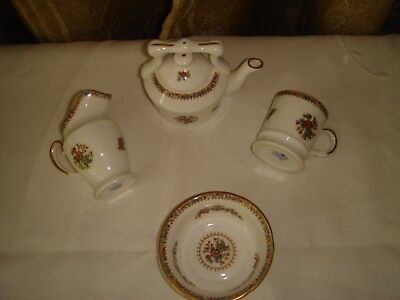 minature coalport bone china ming rose kettle jug cup bowl vintage