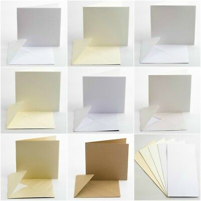 """Pack 10 Large 150x150mm 6"""" Square Cards and Envelopes - Inserts - Card Making"""