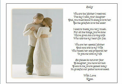 Personalised Wedding Day Poem Gift To The New Mother In Law Of Groom